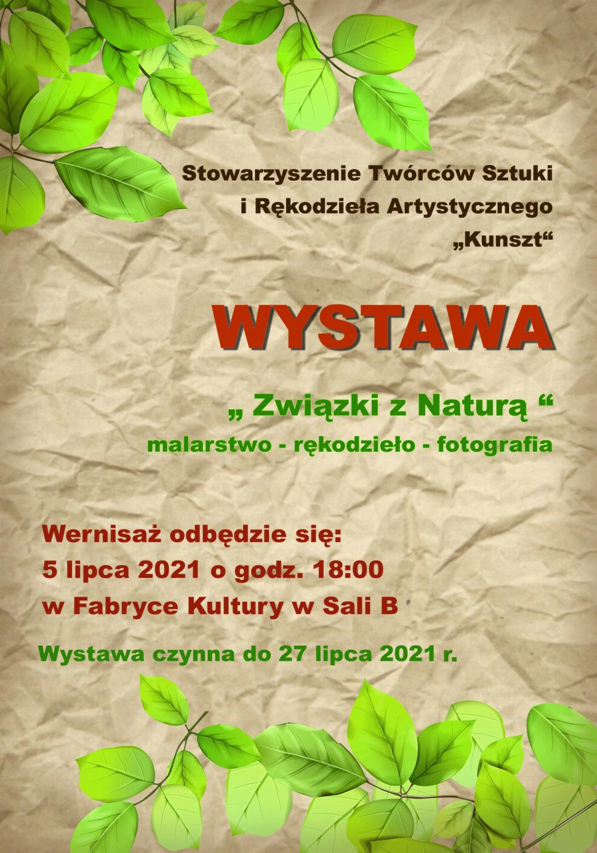 """Plakat Wystawa """"Związki z naturą"""""""
